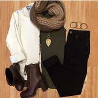 From the Hip Ribbed Top - Olive