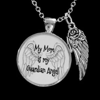 My Mom Is My Guardian Angel Wing In Memory Heaven Remembrance Necklace