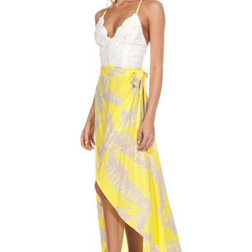 Palm Leaves Wrap Maxi Dress (more colors)