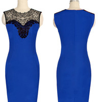 Blue Sheer Mesh Lace Sleeveless Bodycon Midi Dress