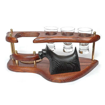 """Exclusive Wooden Mini Bar For Tequila or Vodka """"SCOTCH TERRIER"""". Hand Made, Interior Design, Home Decor, Office Decor"""