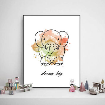 Printable Watercolor Painting, Dream Big, Baby - Child Room, Drawing, Decorations, Colorful, Digital