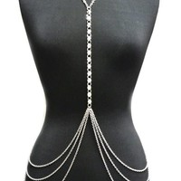 Silver Tone Womens Adjustable Size Crystal Front Accent Simple Body Chain Necklace Jewelry IBD1042R