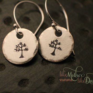 Hand Stamped Earrings - Hand Stamped Sterling Silver Dangle Earrings - Tree, Family Tree - Hand Stamped Jewelry