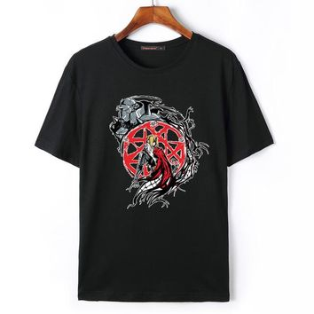 Anime T-shirt graphics Flevans 2018 Summer Fashion Mens T Shirt Anime Fullmetal Alchemist Edward Elric Printed T-shirt Casual Cotton Short Sleeve AT_56_4