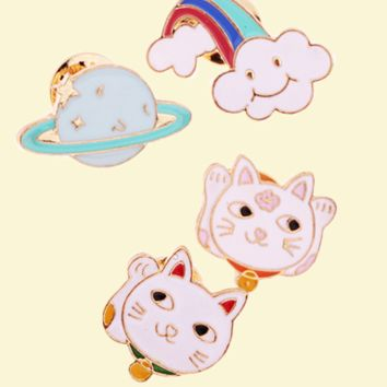 Planet, Cloud, Fortune Cat Pins