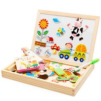 EFHH Multifunctional Educational Farm Animal Wooden Magnetic Puzzle Toys Jigsaw Baby Drawing Easel Board Fridge Magnets Gifts