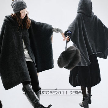 dark grey cape Coat winter coat Autumn Woman Wool Long Knitted Coat Sweater my01 M-L