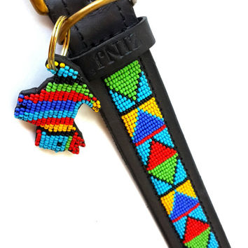 Hand Made Beaded Leather Dog Collar - SAMBURU BLUE