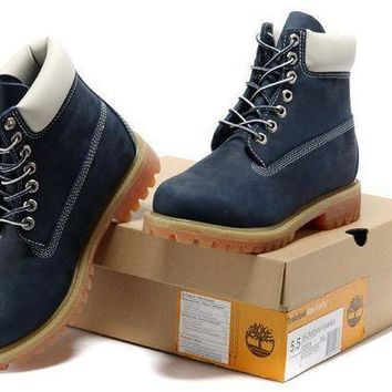 Men's Timberland Icon 6-inch Premium Classic Blue Nubuck Waterproof Boots