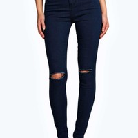 Lara Ripped Knee Super Skinny Tube Jeans