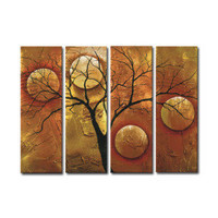 Stretched Handmade 4-pc Handmade Abstract Painting Set (0192-YCF104381) - $115.53
