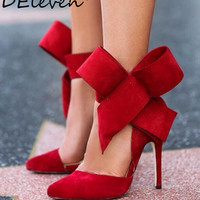 Ladies pointed toe oversized bow muleshoe thin heels high-heeled