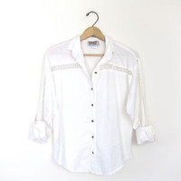 Vintage cut out white shirt. Button down western shirt. Women's white blouse. Preppy Cowgirl Circle T Shirt. White button up shirt. XS small