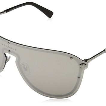 Versace Women's Mirrored Shield Sunglasses