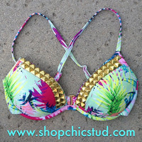 Studded Bikini Top - Swimwear - Tropical Print - Gold or Silver  Studs -
