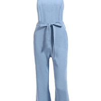 Denim Blue Sleeveless Tie-Waist Jumnpsuit