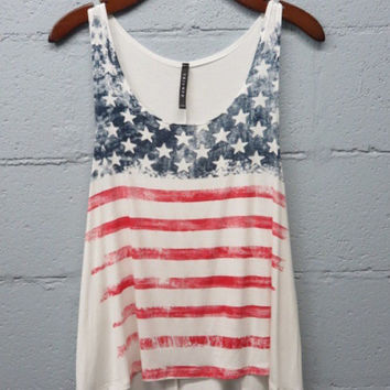 Patriotic American Flag Tank Top. Women's Clothing. Size Small to Large.