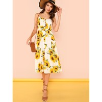 Sunflower Print Button Up Cami Dress