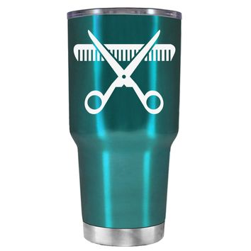HairStylist Scissor and Comb Silhouette on Teal 30 oz Tumbler Cup