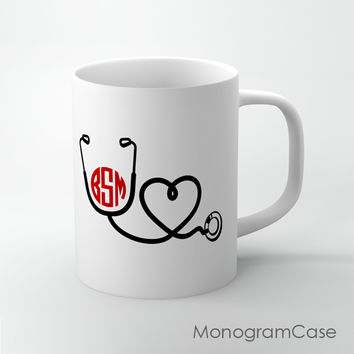 Nurse stethoscope doctor medical design monogrammed coffee cup