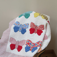 Handmade Vintage Butterfly Quilt Dated 1957 Applique Quilt