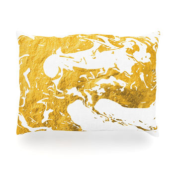 "KESS Original ""Gold Ink on Water"" White Metal Oblong Pillow"