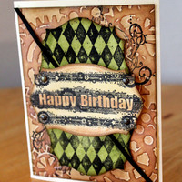 Steampunk Happy Birthday Card, Greetings Card, Masculine Birthday Card, Grunge Birthday, by MrsKristenCreations on Etsy