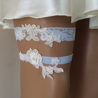 toss garters,very light blue, baby blue ivory, blue,   lace,    wedding garters,    bridal accessores,   garter suspander,    free shipping!