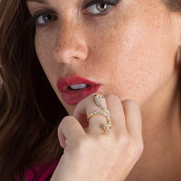 Slither Away Jeweled Snake Ring
