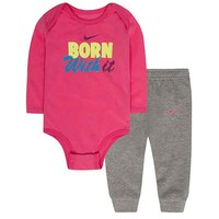 Nike ''Born With It'' Bodysuit & Pants Set - Baby Girl, Size: