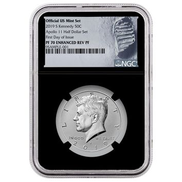 2019-S Kennedy Half Dollar Enhanced Reverse Proof NGC PF-70 (Apollo 11, First Day of Issue)