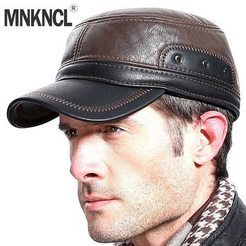 Trendy Winter Jacket MNKNCL High Quality Autumn Winter Men Leather Baseball Cap Casual Moto Snapback Fashion Keep Warm Hats AT_92_12