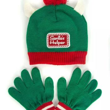 Christmas Day Kids Knitted Warm Beanie Hat & Gloves Set