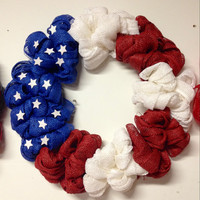 Stars and stripes patriotic fourth of july paper mesh wreath