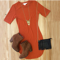 Ada Ribbed Dress - Rust
