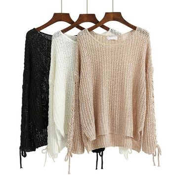 Long-sleeved Hollowed-out Longer In The Rear Sweater
