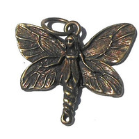 Antiqued Burnished Brass Fairy Butterfly Girl Pendant, 29mm Brass Pendant, Fantasy Winged Girl, DIY Jewelry Making, Jewelry Supplies