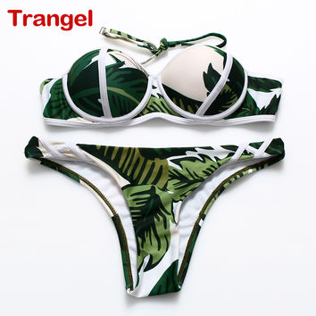 TRANGEL 2017 New Sexy Women's  bikini Patchwork Neon Bikini Sets For Women Bandage Print Swimwear Swimsuit Halter Top