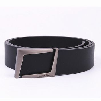 """Calvin Klein"" Unisex Fashion Classic Multicolor  Metal Letter Plate Buckle Belt"