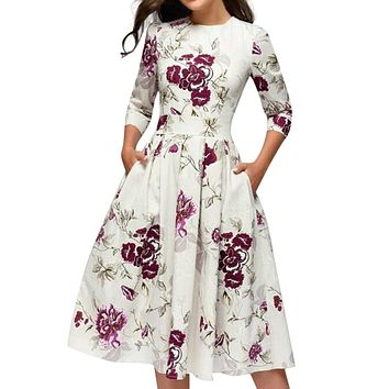 Summer Party Dress Women Elegent Floral Print Half Sleeve Midi Dress Vintage O Neck Party Dresses Vestidos Without Pocket
