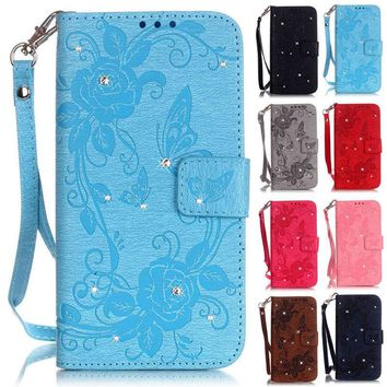 Bling Rose Butterfly Wallet Leather Case Cover For iPhone 5S/6S/6S Plus/6 Plus/7