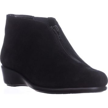 Aerosoles Allowance Wedge Ankle Boots, Black Suede, 8 US