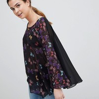 QED London Butterfly Print Tunic at asos.com