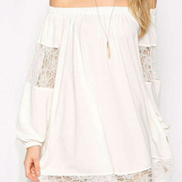 White Off Shoulder Sheer Lace Panel Shift Mini Dress