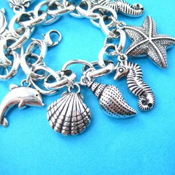 Starfish Seahorse Dolphin Sea Creatures Charm Bracelet from Dotoly