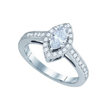 Diamond Bridal Ring with 0.60ct Center Marquise Stone in 14k White Gold 1 ctw