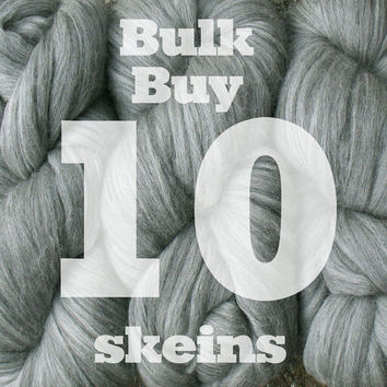 BULK DISCOUNT Silk Merino Super Bulky Yarn. ELEGANCE super soft and extra thick 1ply. 10 Skeins for Throws, Afghans & Blankets. Choose Color