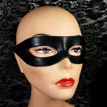 Black Leather Mask - Sexy Superhero Pirate Zorro Lone Ranger Robin Hit Girl Kick Ass for Cosplay Comic Con Fetish or Masquerade