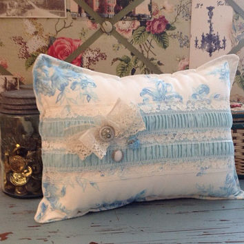 Small shabby chic blue flower lace pillow, shabby chic pillows, cottage blue flower pillow